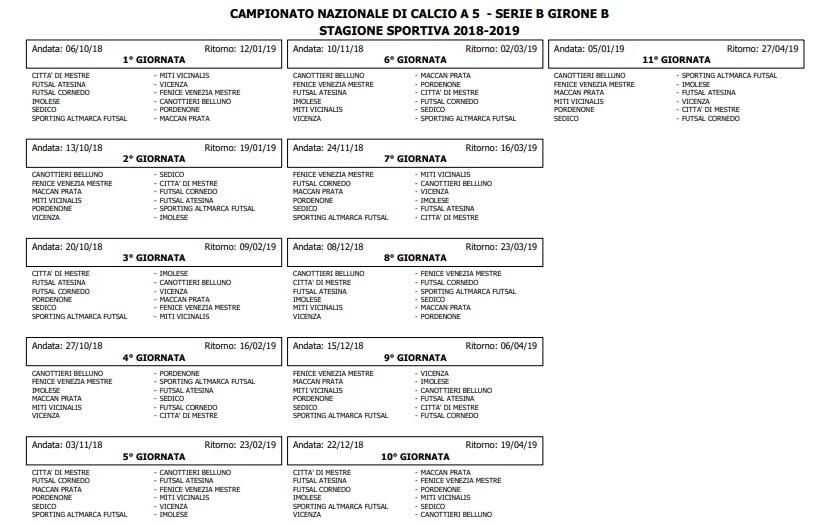Calendario serie B gir B 18/19