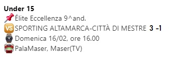 Stagione under 15 2019-2020 9^ and