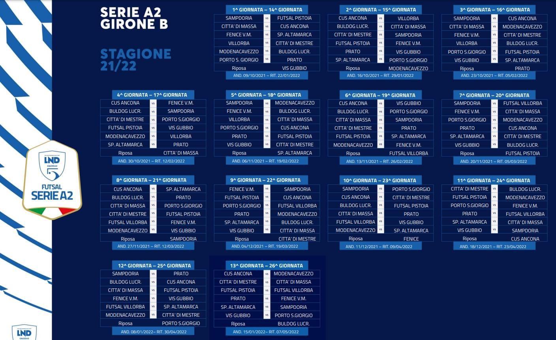 Il Calendario Serie A2 Girone B Stagione 2021/2022